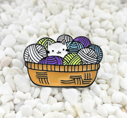 China Accessories Cats Australia - Cute cat dripping oil brooch Men women's brooch clothing accessories Wool basket pin dance party brooch 218