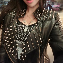 Punk Motorcycle Jacket Australia - 2019 Spring Female Stand Collar PU Leather Jacket Women Punk Spiked Heavy Rivets Leather Jackets Studded Motorcycle Coats B475