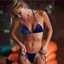 993f9997e8d Thongs Swimsuits Canada - 2019 Burgundy Blue Women Swimsuit Velvet Bikinis  Set Strap Bathing Suits Halter