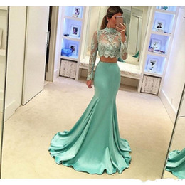 High Quality Dresses For Australia - 2019 New Mint Green 2 Piece Prom Dresses Long Sleeve Mermaid Style High Quality Sheer Lace Special Occasion Party Dress For Evening