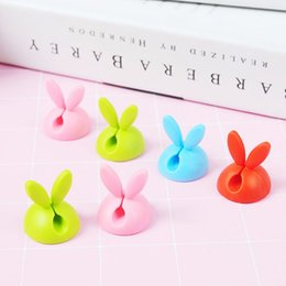 $enCountryForm.capitalKeyWord Australia - 4pcs Set Rabbit Ears Cord Holder Clips Home Office 2.3*2.5cm Desk Tidy Organizer Wire Cord Lead for Desktop Cable Fixed