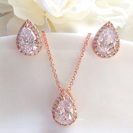$enCountryForm.capitalKeyWord NZ - Fashion Women Wedding Jewelry Set Water Drop Cubic Zirconia Inlay Crystal Bridal Jewelry Gifts For Bridesmaids