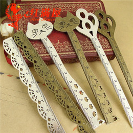 Bookmark Ruler Australia - Metal hair stick stationery straight ruler lovely zinc alloy key cat lace bookmark design ancient silver jewelry accessories