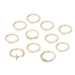v shape rings for women 2019 - 11Pcs Set Wedding Bands Love Letter V Shape Knuckle Midi Stacking Finger Ring Women Simple Jewelry Rings for Gifts cheap