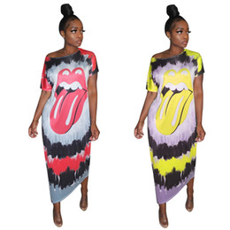 mouse clothing NZ - Cartoon Mouse Tie Dye Midi Dresses Women Cute Multi 1 2 Sleeve Scoop Neck Mid Calf Pencil Dress Casual Clothes Red Yellow S-2XL