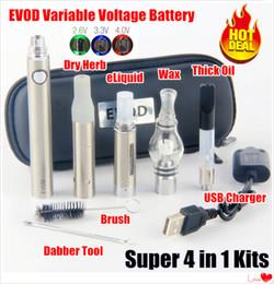 Herb vapes online shopping - Hottest eVod VV in vaporizer Thick Oil kit EVOD Variable Voltage Preheat Battery vape cartridges dry herb dab pens wax pen vapes