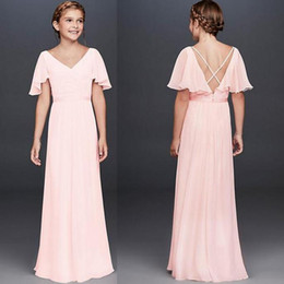 Short pleated chiffon draping dreSSeS online shopping - 2020 Flutter Crinkle Chiffon Junior Bridesmaid Dresses Summer Country Boho Maid of Honor Gowns A Line jewel Neck long Wedding Guest Dress