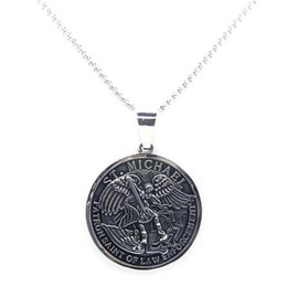 Support Dropship Newest ST. MICHAEL Angle Pendant 316L Stainless Steel Fashion SAINT MICHAEL Pray For US Pendant from hot dresses for kids suppliers