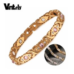 $enCountryForm.capitalKeyWord Australia - Vinterly Magnetic Bracelet Women Chain Crystal Gold-color Stainless Steel Bracelet Women Cross Health Energy Bracelets For Women SH190727