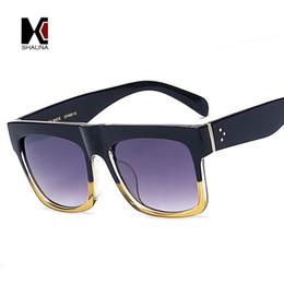 $enCountryForm.capitalKeyWord Australia - Wholesale-SHAUNA Fashion Baby Audrey Super Square Glasses Rivets Vintage Women Sunglasses Brand Designer Men Flat Top Clear Len Eyeglasses