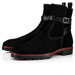elegant heel snow boots Australia - Luxurious Designer Red Bottom High Top Boots For Men Shoes Ankle Boots Kicko Croc Style Black Suede Calfskin Elegant Men's Low Heels Boots