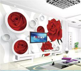 $enCountryForm.capitalKeyWord Australia - Papel de parede Custom 3d photo murals wall paper Red Rose 3D Circle Living Room Sofa TV Background Wall Sticker Decoration