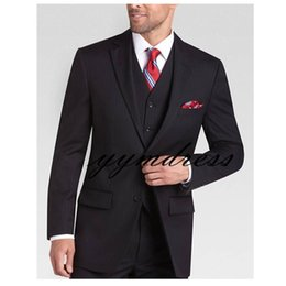 $enCountryForm.capitalKeyWord Australia - Black Pinstripe Groom Suits 2019 Two Button Notched Lapel Slim Fit Mens Prom Tuxedos Suits Three Pieces (Jacket+Vest+Pants+Tie)
