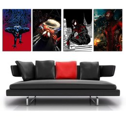 League Legends Figure Australia - League of legends Spiderman -8 ,4 Pieces Home Decor HD Printed Modern Art Painting on Canvas  Unframed Framed