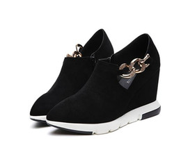 012c1b2ec20 lat platform pointed toe sneakers for women vintage cozy vulcanized shoes  Single shoes with pointed wedge and chain drill shoes