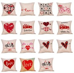 Valentine Pillows Gift Canada - Valentines Pillow Case 2019 Valentine's Day Gift Decors stripe Letter Love print Pillow Covers Sofa Nap Cushion Cover Kids Supplies