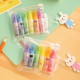 $enCountryForm.capitalKeyWord Australia - 6PCS Cute Mini Animals Highlighter Lovely Cartoon Painting Pen Marking Pens Students Learn Stationery Supplies Wedding Gift