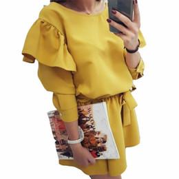 Girls Tassel Shirt Australia - Sweet Girls Ruffles Kawaii Dress 2019 Solid Women Summer Sundress Sexy Ladies Long Sleeve Pleated Mini Dress New Plus Size GV866