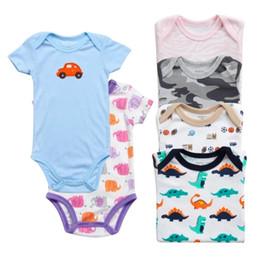 Cheap Wholesale Jumpsuits Australia - Cheap baby romper infant triangle clothes cotton short sleeve 5 pieces cartoon cotton jumpsuits rompers children clothes factory wholesale