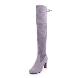 997f137ab737 Super Elegant Spring Autumn Winter Women ladies Sexy suede over the knee  thigh high block heel lace the tie back boots