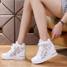 brogues shoes women Australia - Women Wedge Platform Rubber Brogue Leather Lace Up High Heel Shoes Pointed Toe Increasing Creepers White Silver Sneakers C130 MX190723