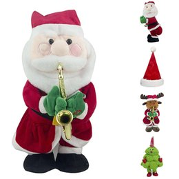 stuffed plush santa Canada - Electric Santa Claus Christmas Hat Music Stuffed Doll Plush Toy Dancing Music Doll Christmas FP8