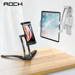 Ayarlanabilir Tablet Telefon Tutucu ROCK iPad 2/3/4 Hava Mini Pro Için iPhone Için 360 Derece Roating Masaüstü Standı 5-10.5 Inç indirimde