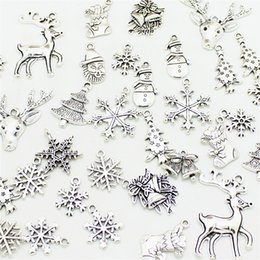 Color Charms Australia - 300pcs Mixed Antique Silver Color Christmas Boot Snowman Boot Snowflake Charms Pendants Jewelry Making Accessories DIY 0977