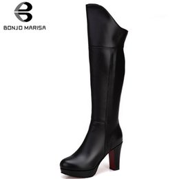 high heels big platform NZ - BONJOMARISA New Fashion Big Size 33-43 Ladies High Heels Platform Shoes Woman Office Lady Knee High Boots Women 2019