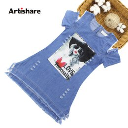 white dresses for girls casual Australia - Artishare Summer Dress For Girls Cartoon Girls Denim Dress Casual Off Shoulder Kids Dresses For Girls 6 8 10 12 14 Year Clothes MX190724
