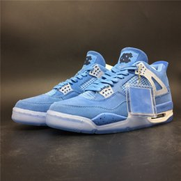 Media Player Australia - 4s UNC Blue Player Edition TOP Factory Version 4 Basketball Shoes 2019 Designer Mens Trainers Suede Sneakers Size 7-13