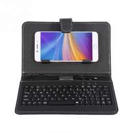 China gaming keyboard PU Leather Case Wired USB Keyboard Stand Phone Protector Cover for Android Black wireless cheap keyboard case cover phone suppliers