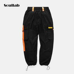 gothic clothing brands UK - black grey baggy men bottom jogger function pants drawstring cool city boy brand clothing skateboard rapper swaggy gothic autumn