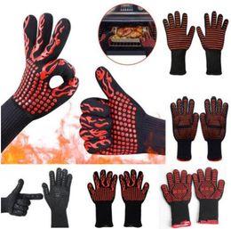 Silicone Finger Kitchen Gloves Australia - 500-800 Heat Resistant Gloves Silicone Antiskid Oven Gloves BBQ Baking Cooking Double-layer Heat Insulation Gloves Mittens Kitchen Tools