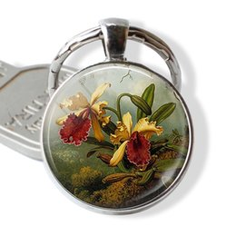 $enCountryForm.capitalKeyWord NZ - Vintage Yellow Orchids Key Chain Orchid Lover Jewelry Handmade Glass Gift for Flower Lovers Fashion Silver Plated Accessories