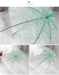 Cherry blossom free online shopping - Household Transparent Clear Umbrella Cherry Blossom Mushroom Apollo Princess Women Rain Umbrella Sakura Long Handle Umbrellas