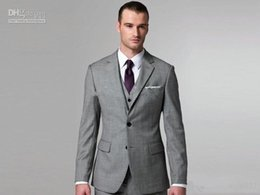 custom make clothes Canada - New Custom made Light grey Notch Lapel Groom Tuxedos Groomsmen Men Blazer Wedding Dress Suits Prom Clothing (Jacket+Pants+Vest+Tie) XF257