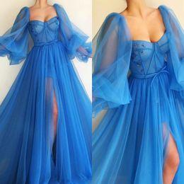 SkieS pictureS online shopping - Prom Dresses Poet Long Sleeves Sweetheart Ruffles Split Evening Gowns Floor Length Robe de soriee