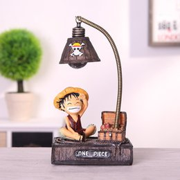 one piece chopper figures UK - Resin Model Luffy Led Night Light Anime One Piece Night Light Toys For Kids One Piece Luffy Chopper Figure Toys Birhthday Gifts Y200421