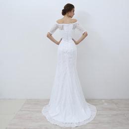 $enCountryForm.capitalKeyWord Australia - White Lace Boho Mermaid Wedding Dresses Half Sleeves Off The Shoulder Beach Bridal Dresses Elegant Wedding Gowns