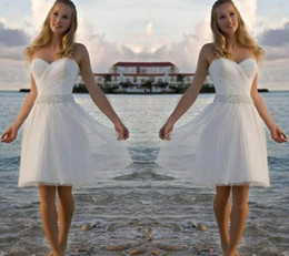 $enCountryForm.capitalKeyWord Australia - New High Quality Sweetheart Rhinestone Tulle Short Casual Beach A-Line Wedding Dresses Bridal Gowns Free Shipping custom made under 100