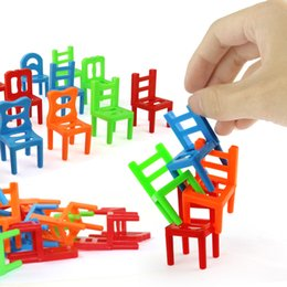 kids block games Canada - 18pcs Mini Chair Balance Blocks Toy Plastic Assembly Blocks Stacking Chairs Kids Educational Family Game Balancing Training Toy