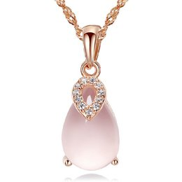 necklaces pendants Australia - Chinese Natural Rose Quartz Pink Austrian Crystal Heart 925 Sterling Silver Plating on Copper Rose gold Silver Color Pendant Necklace