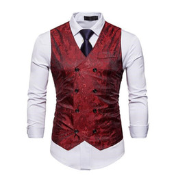 Discount men waistcoat double - Fashion Men Double Breasted Dress Vests Chaleco Sleeveless Gilet Slim Sleeveless Waistcoat Men Suit Hombre For Party Wed