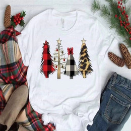 christmas t shirts plus size NZ - White T Shirt Christmas Tree Top Women Short Sleeve T-shirt Casual Plus Size Women Tops Tee Female Summer White Tee