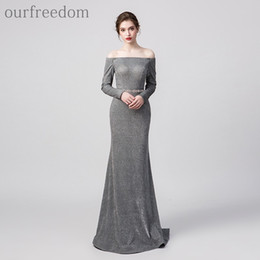 vintage designer cocktail dresses sleeves NZ - 2019 Elegant Long Sleeve Grey Sequins Evening Dresses Bateau Neck Mermaid Sweep Train Formal Occasion Designer Dresses Prom Party Gown