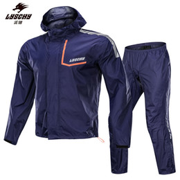 nylon coating Canada - LYSCHY Wearable Nylon Motorcycle Rain Suit Reflective Rain Coat Motorcycle Waterproof Suit Rain Coat Suits Motorbike Racing Riding Raincoat
