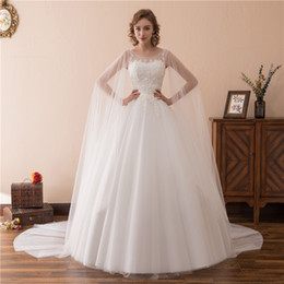 White Brides Dresses NZ - Elegant White Dresses O Neck With Appliques And Wrap A Line Tulle Long Wedding Party Bride Dresses For Women Wedding Dresses Gowns