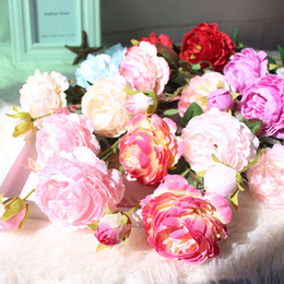 $enCountryForm.capitalKeyWord Australia - Rose Silk Peony Artificial Flowers Bouquet Fake Flowers Wedding Bouquet Big Head and Bud Fake Flowers for Home