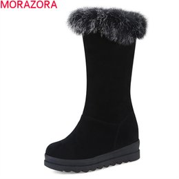 lady snow boots mid calf Australia - MORAZORA 2020 Winter fashion snow boots comfortable flock round toe ladies shoes keep warm solid black mid calf boots women